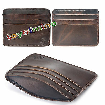 Genuine leather Money Clip ID Credit Card Case Holder Slim Wallet Money Pocket