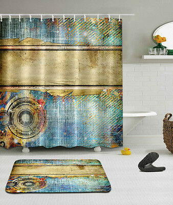 "Vintage Old Shower Curtain Bathroom Mat Set Waterproof Fabric Decor 72""/79"" 2243"