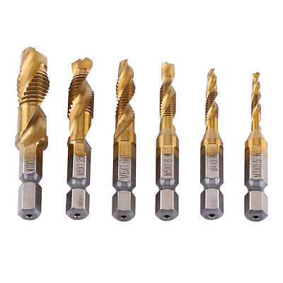 "6pcs Metric Thread M3-M10 Titanium Coated HSS Drill Tap BitS 1/4"" Hex Shank TP"