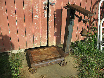 Antique Fairbanks  Platform Scale With Weights Made in USA  Original Finish