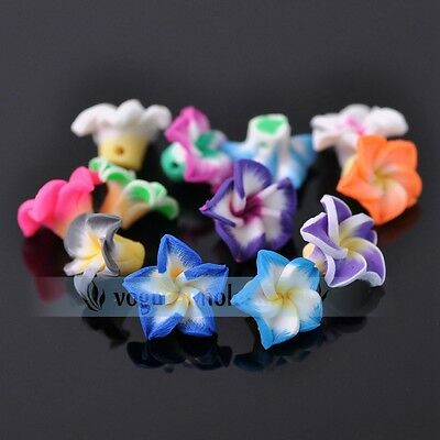 10pcs/100pcs 15mm Mixed Colors Fimo Flower Polymer Clay Loose Spacer Beads Lot