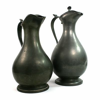 Antique Victorian Pewter Wine Water Ewers Jugs Set of 2 James Dixon & Sons