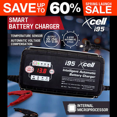 X CELL 9-Stage Smart Battery Charger 12V/24V 25A Automatic Maintainer Car Bike