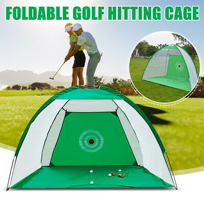 Foldable Golf Hitting Cage Practice Net With Training Aid + Driver Iron New