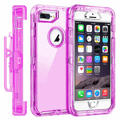For Apple iPhone 6S 7 8 Plus XS Max XR Case Shockproof Clear Cover Holster Clip