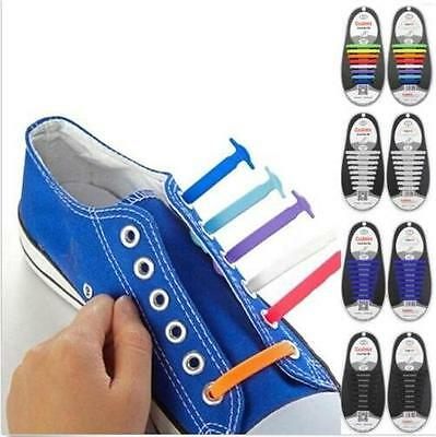 12 pcs/Set Unisex Silicone Elastic Shoelaces No Tie Shoe Laces Fit All Sneakers