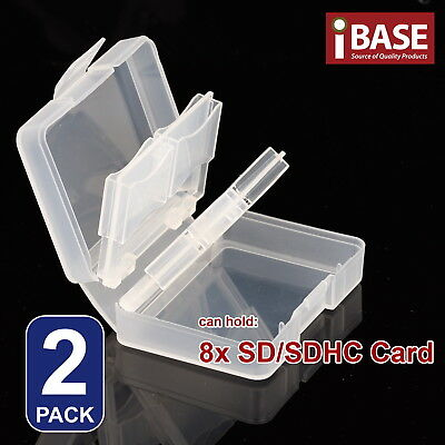 2x 8 in 1 Memory Card Holder SD SDHC Protection Box Stick Storage Clear Case