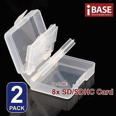 2x Memory Card Holder 8 in 1 SD SDHC Protection Box Stick Storage Clear Case