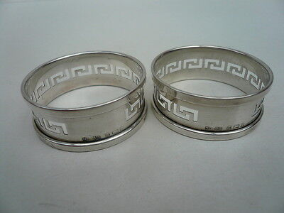 Silver Napkin Rings, Sterling, English, Pair, GREEK KEY, Hallmarked 1930