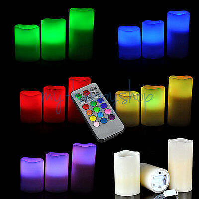 Battery Operated 3pcs LED Candle Wax Lights Set + Timer Remote Control Flameless