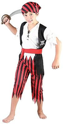 Boys 4 Piece Red Black Pirate Party Book Day Fancy Dress Costume Outfit 4-12 yrs