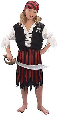 Girls 4 Piece Red Black Pirate Party Book Day Fancy Dress Costume Outfit 4-12yrs