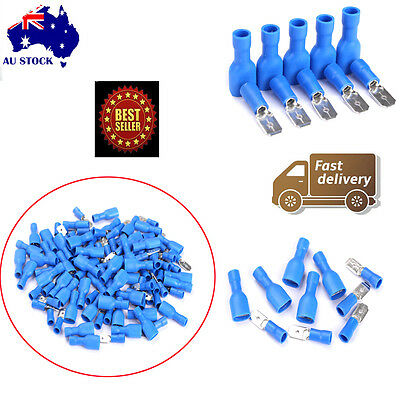 100X Blue Female/Male Electrical Spade Connector Fully Insulated Crimp Terminal