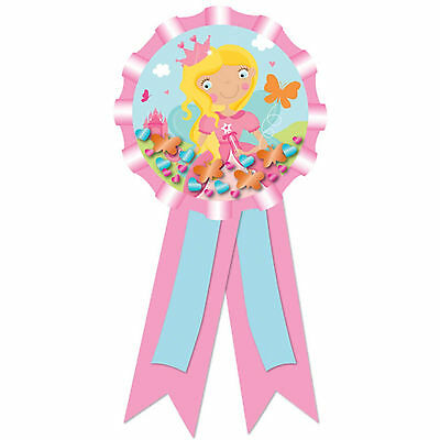 15cm Woodland Princess Pink Children's Party Confetti Pouch Award Ribbon Badge