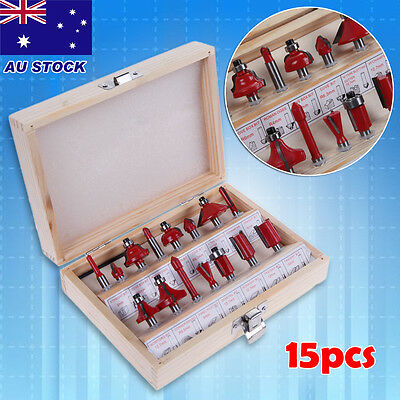 "15pcs 1/4"" Shank Woodworking Tungsten Carbide Tipped Router Bits Wood Case Set"