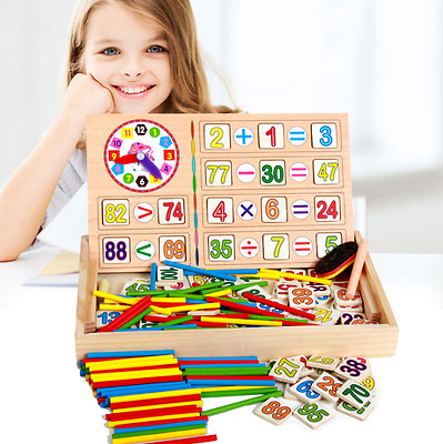 Children Wooden Numbers Mathematics Learning Counting Educational Toy Blocks