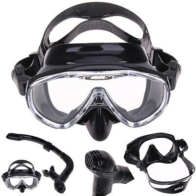 Silicone Underwater HD View Diving Mask Anti-Fog Goggles Glasses + Breath Tube