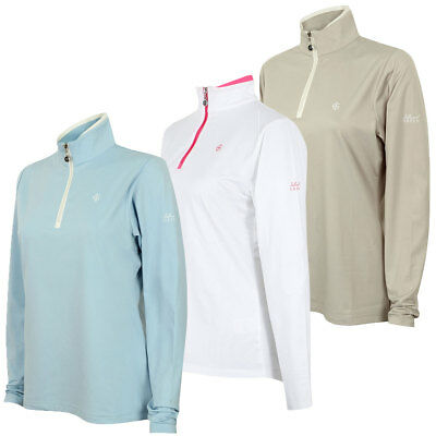 39% OFF RRP Island Green 2017 Ladies Contrast 1/2 Zip LS Top Golf Pullover