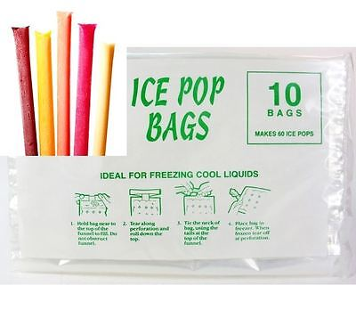 10 Ice Pop Bags Disposable Ice, Ice Smoothie bags Juice, Yoghurt, Ice Cream