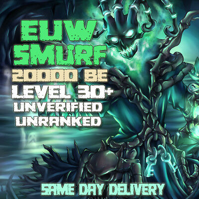 LoL EUW Account League of Legends Smurf 20000 BE IP Unranked Level 30 PC