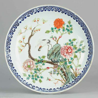 Antique Late Guangxu / Republic Porcelain Charger Porcelain Marked on Base Bird
