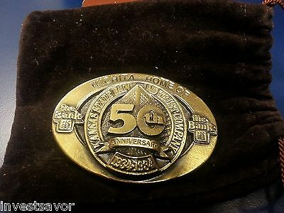 Kansas State Bank & Trust 50th Anniversary BELT BUCKLE - Beautiful - 167 of 1000