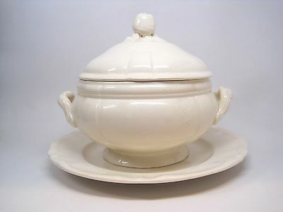 Antique 1800s Large Sarreguemines White French Soup Tureen w/ Lid & Underplate