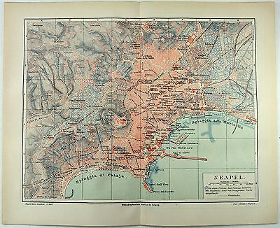 Original 1888 City Map of Naples, Italy by Meyers