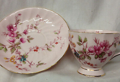 Royal Tuscan England 1442H Cup & Saucer 8 Oz Pink With Multi Color Flowers Swirl