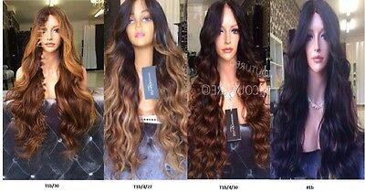 150% Density, 8A Ombre Body Wavy Brazilian Human Hair Lace Front Wig, 20inches