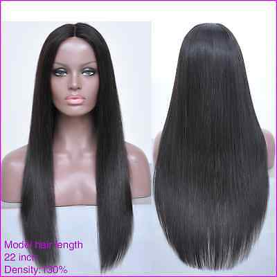 "SALE! Brazilian Human Hair Silky Straight Lace Front Wig, 18"" 130% Density"