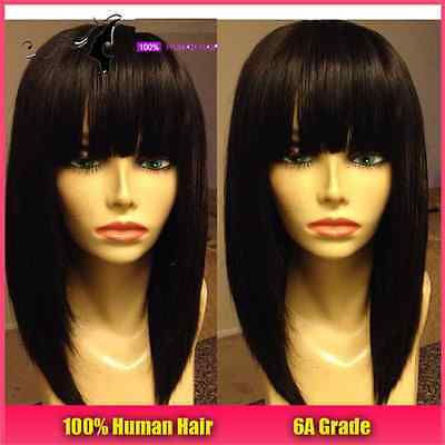 Brazilian Human Hair Bob Lace Front Wig With Bangs, 14 inches 130% Density