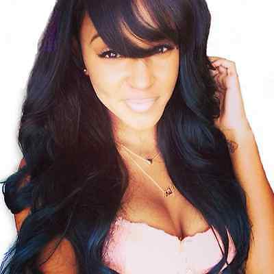Brazilian Body Wave Human Hair Lace Front Wig With Bangs #1 18 Inches 130% Densi