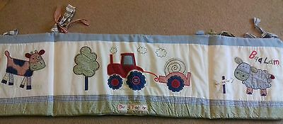 Baby boy blue cot bumper busy tractor Kiddicare excellent condition toddler farm