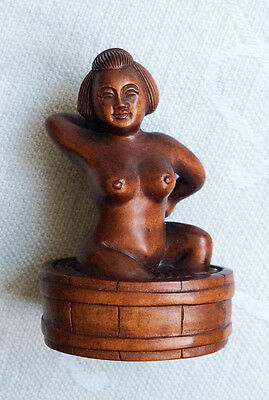 Japanese Netsuke Hand Carved Boxwood Wood Seated Nude bathing 19thC 1940's