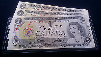 (3) 1973 Crisp Uncirculated Consecutive numbered Canadian $1 Rare currency bill