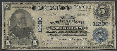 Fr606 $5 First National Bank Of St. Helens, Oregon Ch #11200 Rare Wlm3043