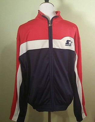 4136ac22c43 Vintage 90s Starter Warm Up Jacket Red White Blue Zip Athletic Track Mens  Size S
