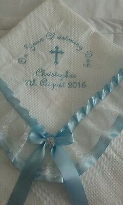 beautiful WHITE/BLUE baby boys christening shawl  *PERSONALISED*