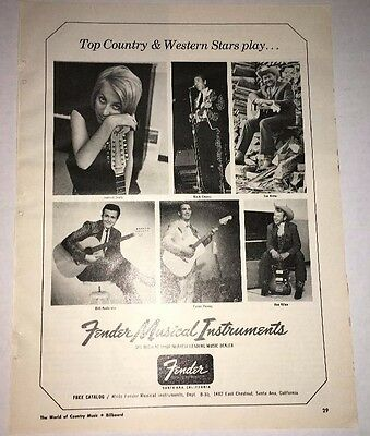1960'S FENDER electric GUITAR PRINT AD COUNTRY MUSIC OWENS RITTER SEELY  VINTAGE