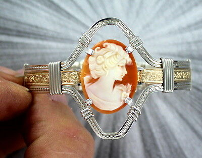 Cameo  Bracelet  14Kt Rolled Gold And Sterling Silver  Size 6 1/2  Wire Wrapped