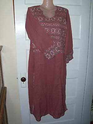 "Pakistani Indian Kameez med/large Rose Mauve Color 48"" long Embroidery Accents"