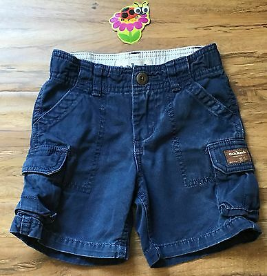 OSHKOSH Boys 3T Blue Cotton Twill Durable Cargo SHORTS / Adjustable Waist