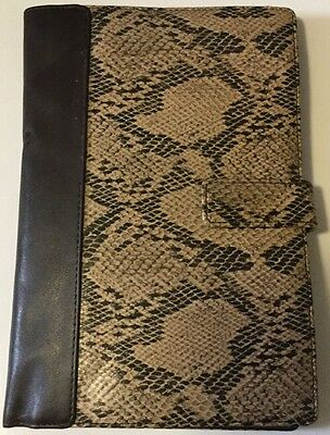 "Faux Snakeskin And Leather 6""X 9"" Travel Organizer Notepad Holder Magnetic Close"