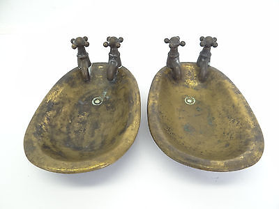 Pair of Vintage Used Brass Metal Bathtub Tub Bathroom Soap Dishes Holders Old