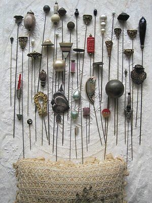 Lot 0F 43  Antique / Vintage Hat Pins, Costume Collection With Huge Pin Cushion
