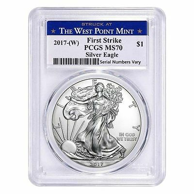 2017-(W) 1oz Silver American Eagle $1 Coin PCGS MS 70 First Strike (West Point)