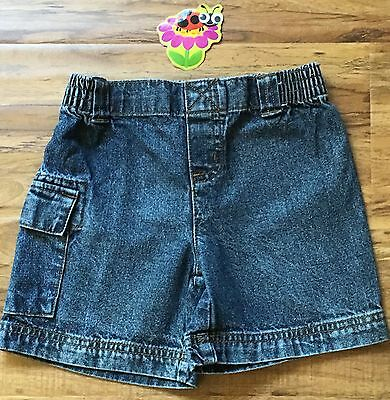 CIRCO Boys 2T Washed Denim Pull-On Cargo SHORTS / Elastic Waist