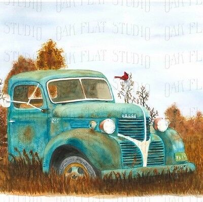 Watercolor Print of a old Dodge truck