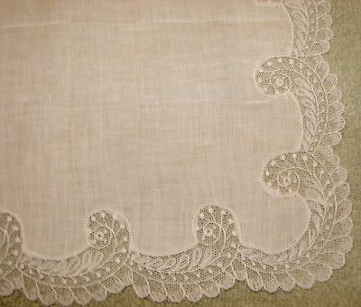 Vintage Linen Embroidered Net Lace Wedding Handkerchief - NWT , Desco